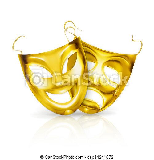 maski, wektor, teatr, złoty - csp14241672