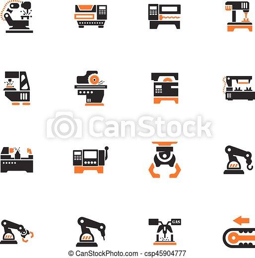 maskinen bearbetar, sätta, ikonen - csp45904777