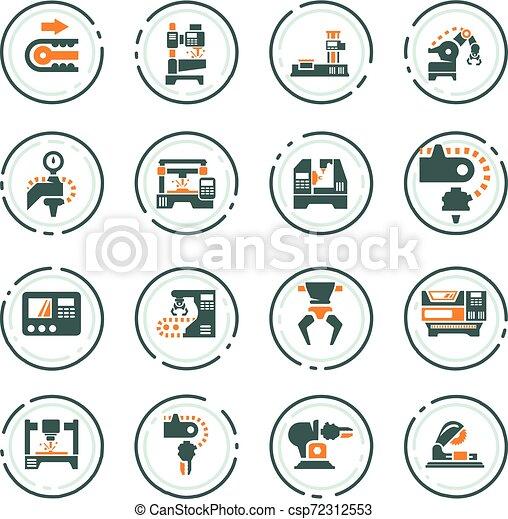 maskinen bearbetar, sätta, ikonen - csp72312553