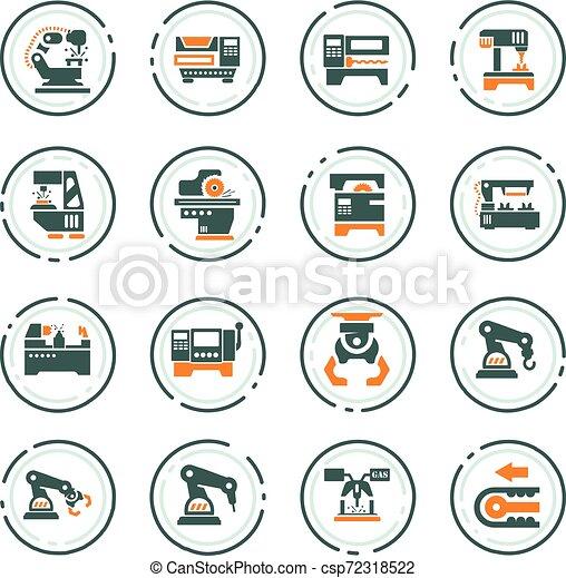 maskinen bearbetar, sätta, ikonen - csp72318522