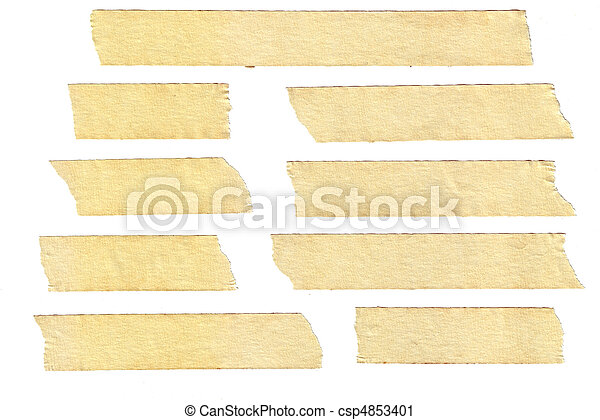 Masking tape textures with varied length, isolated on white ...