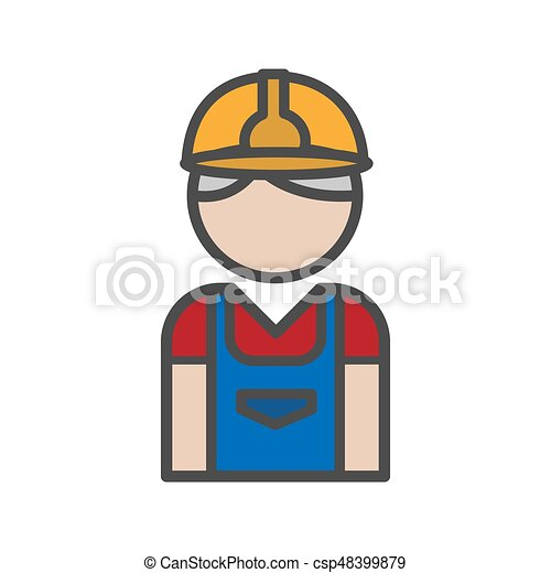 Mason icon with uniform on white background - csp48399879