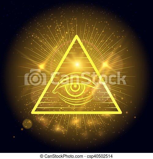 Masonic eye on golden shining background - csp40502514