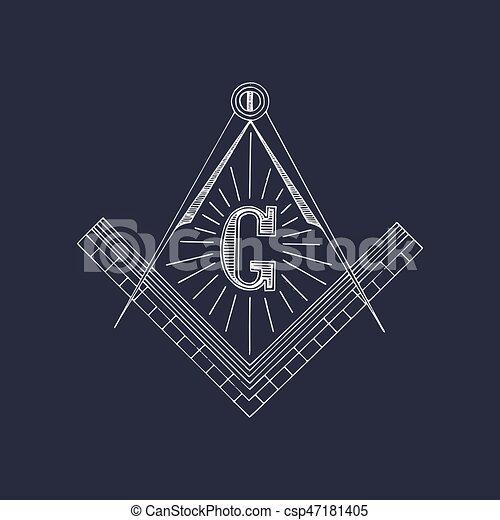 Masonic square and compass symbols. Hand drawn freemasonry logo, emblem. Illuminati vector illustration. - csp47181405
