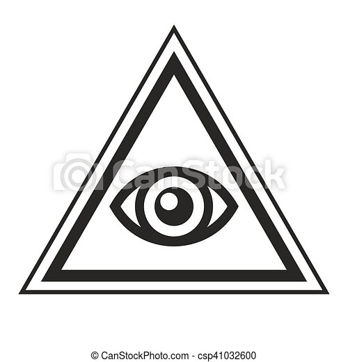 Masonic Symbol All Seeing Eye Inside Pyramid Triangle Icon