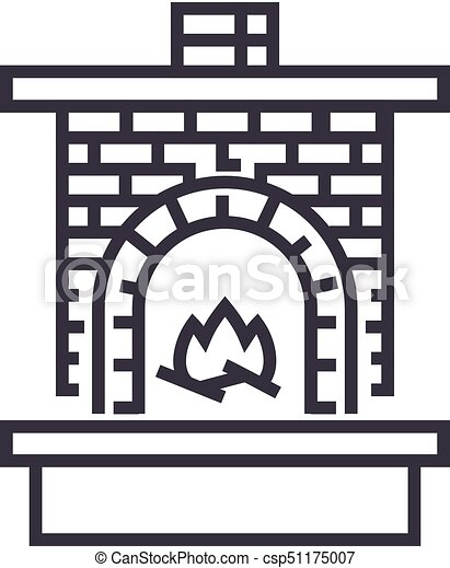 Cool Masonry Heater Fireplace With Brick Chimney With Fire Vector Line Icon Sign Illustration On Background Editable Strokes Home Interior And Landscaping Palasignezvosmurscom