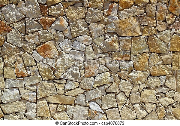 masonry stone wall rock construction pattern - csp4076873