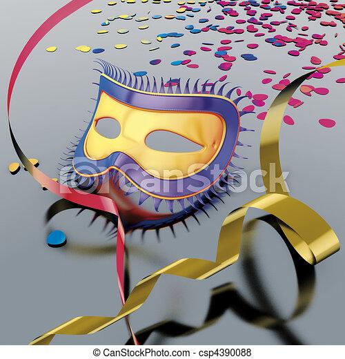 Masque banderole carnaval masque carnaval illustration - Dessin banderole ...