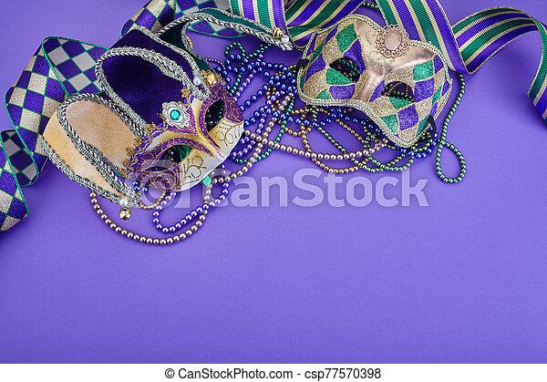masque, ribbons., gras, fond, espace copy, sommet, vue., perles, pourpre, coloré, mardi - csp77570398