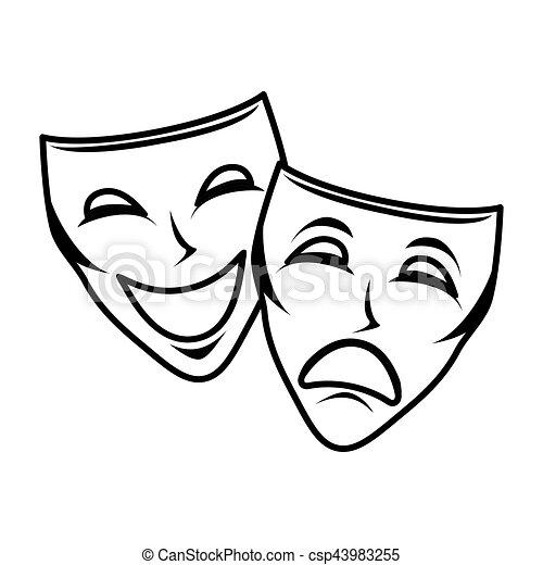 Masque th tre isol ic ne masque th tre isol - Dessin de theatre ...