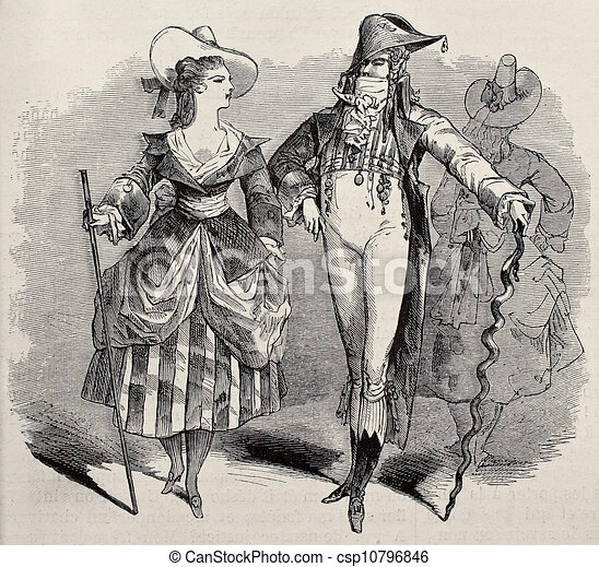 Masquerade Couple Old Illustration Of Costumes