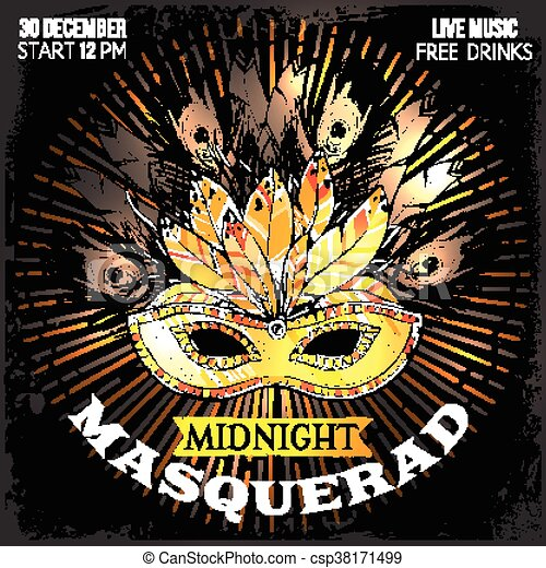 Midnight Masquerade Party Poster With Time Place And Big Eps