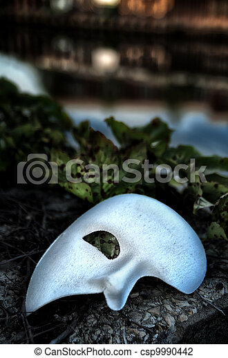 Masquerade - Phantom of the Opera Mask on Vintage Bridge - csp9990442