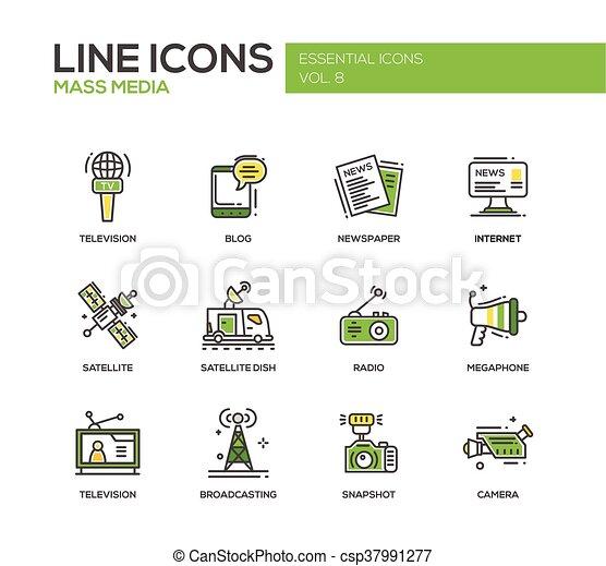 Mass Media line design icons set - csp37991277