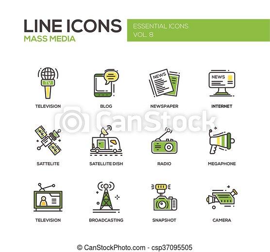 Mass Media line design icons set - csp37095505