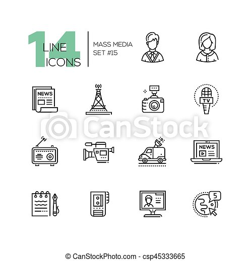 mass media - modern single line icons set - csp45333665