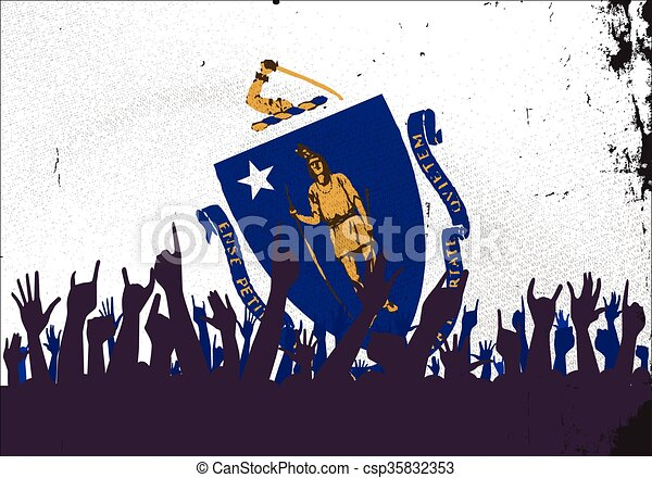 Massachusetts State Flag with Audience - csp35832353