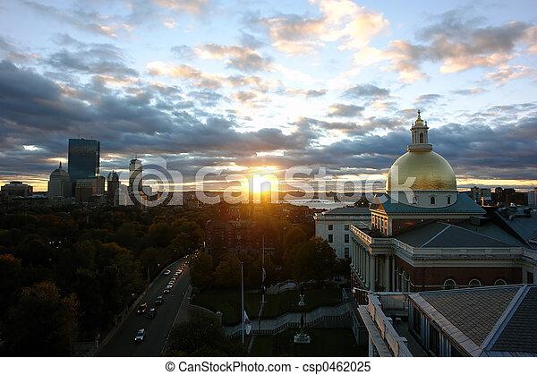 Massachusetts State House in Boston on Beacon Street at sunset - csp0462025