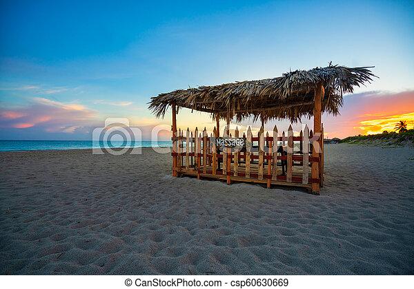 massages, tente plage, bois - csp60630669