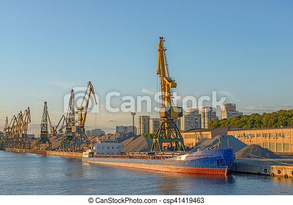 masse, terminal, bateau, port - csp41419463