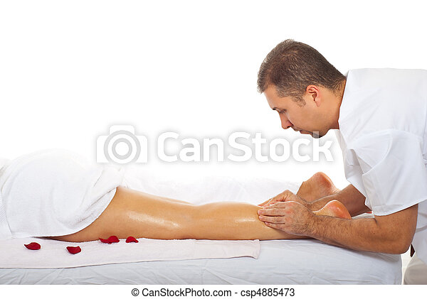 Masseur kneading woman leg - csp4885473