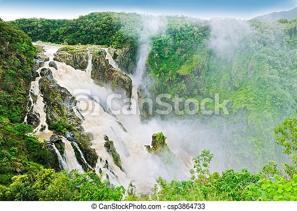 Massive water fall - Barron falls - csp3864733
