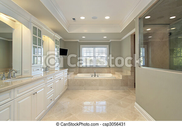 Master bath in new construction home - csp3056431