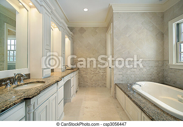 Master bath in new construction home - csp3056447
