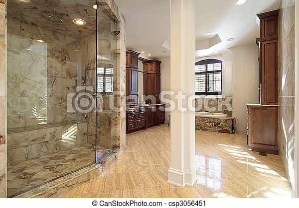 Master bath in new construction home - csp3056451