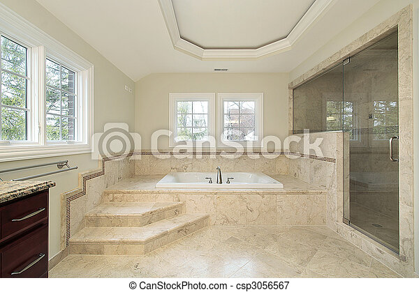 Master bath in new construction home - csp3056567