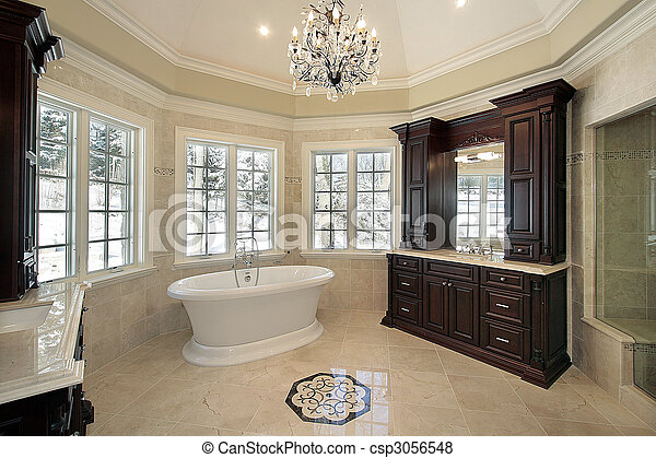 Master bath in new construction home - csp3056548
