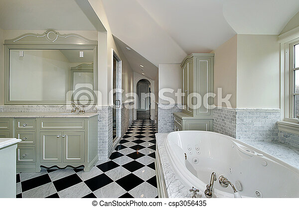 Master bath in new construction home - csp3056435