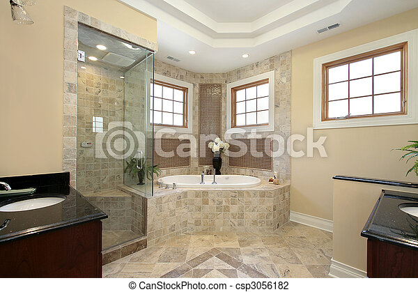 Master bath in new construction home - csp3056182