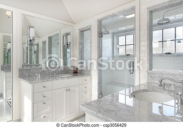 Master bath in new construction home - csp3056429