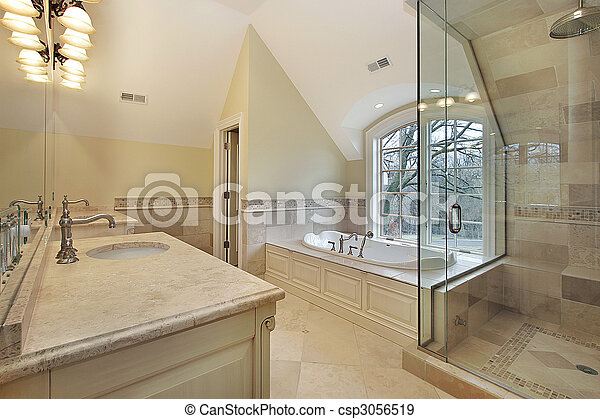 Master bath in new construction home - csp3056519