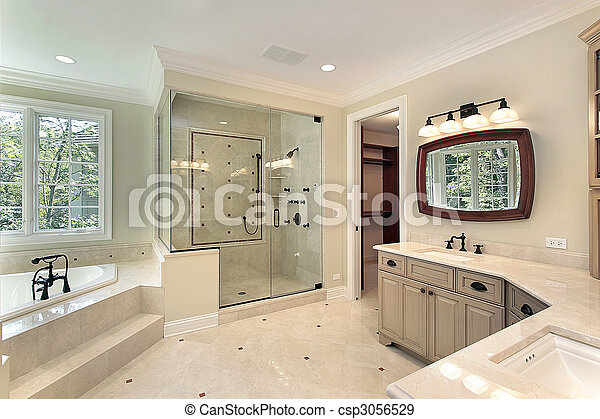 Master bath in new construction home - csp3056529