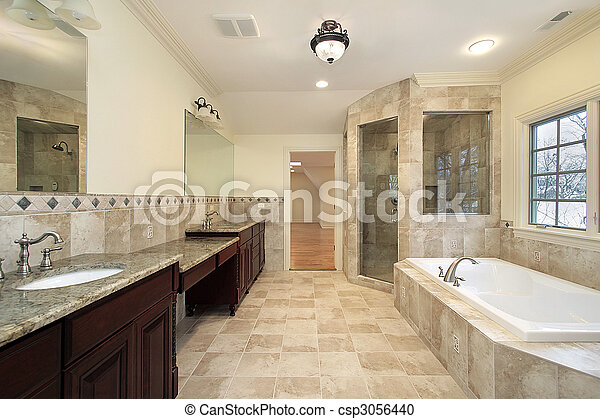 Master bath in new construction home - csp3056440