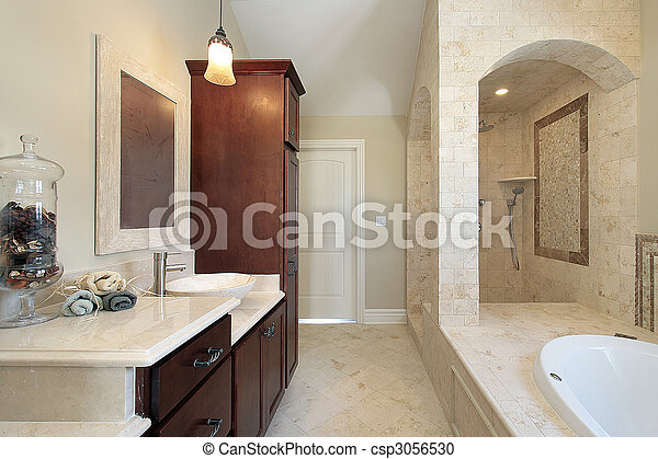 Master bath in new construction home - csp3056530