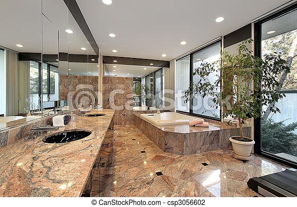 Master bath with marble floors - csp3056602