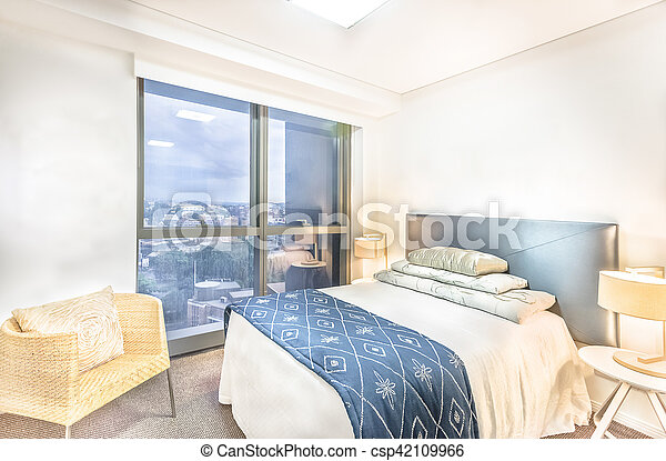 Master Bed With City View In Luxury Room