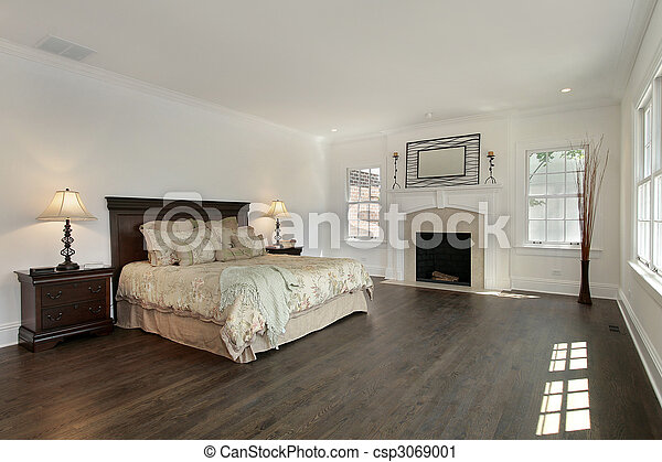 Master bedroom in new construction home - csp3069001
