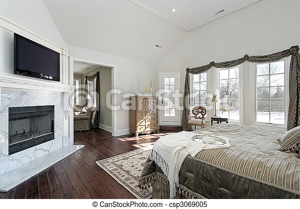 Master bedroom in new construction home - csp3069005