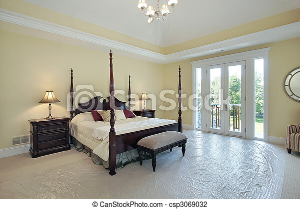 Master bedroom in new construction home - csp3069032