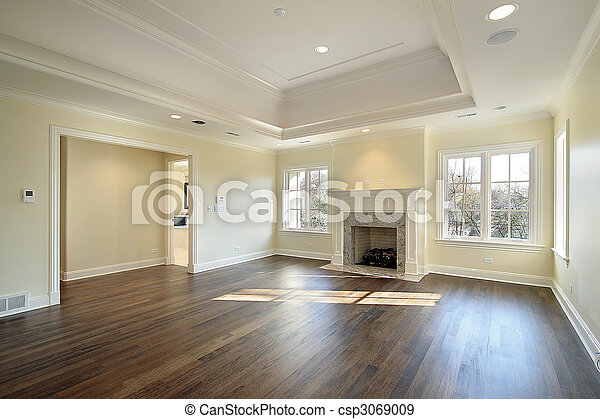Master bedroom in new construction home - csp3069009