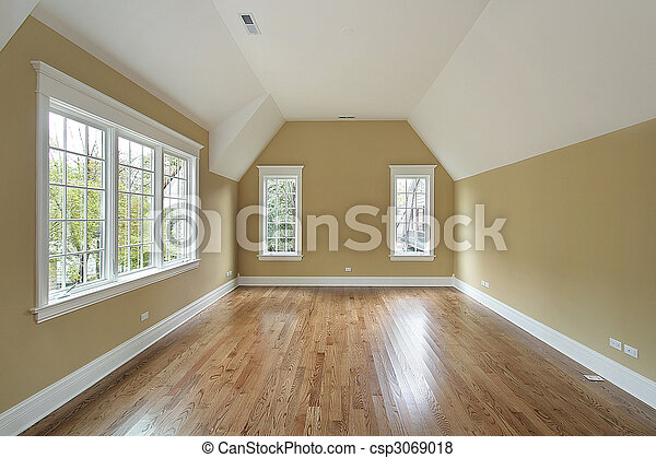 Master bedroom in new construction house - csp3069018