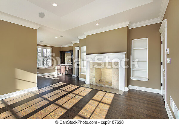 Master bedroom with fireplace - csp3187638