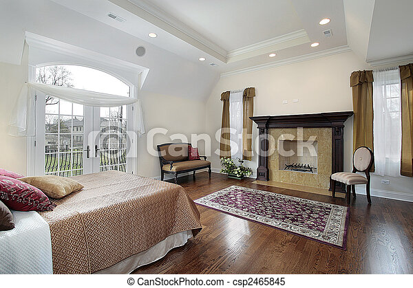 Master bedroom with fireplace - csp2465845