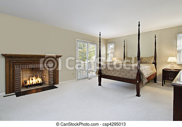 Master bedroom with fireplace - csp4295013