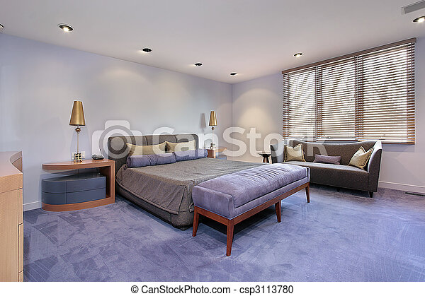 Master bedroom with lavendar carpeting - csp3113780