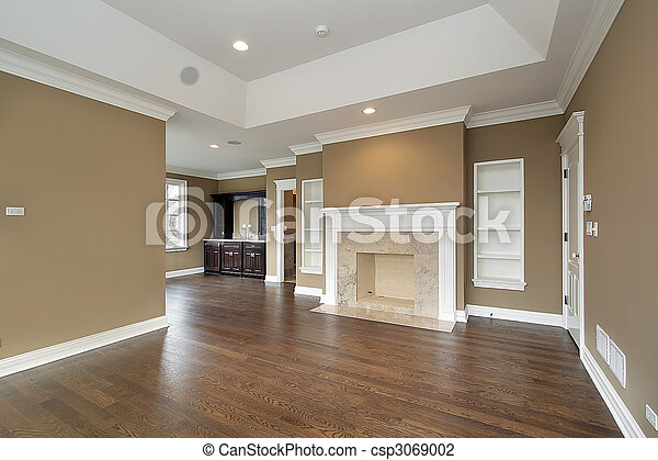 Master bedroom with marble fireplace - csp3069002